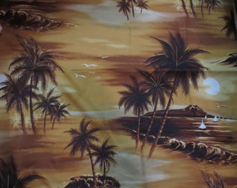 "Vintage Silk or Rayon Hawaiian Shirt Material 56 x 44"" Palm Trees Waves Ocean Brown and tans Hawaiian Fabric"