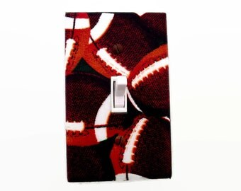 Football Light Switch Cover - Sports Switch Plate - Sports Room Decor - Football Outlet Cover - Boys Football Bedroom Decor - Sports Room