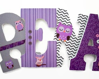 owl nursery letters girls woodland wood letters purple grey wall letters owl wall nursery decor baby wood letters baby shower gift
