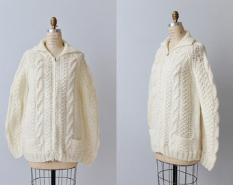Vintage 1970s Cream Cable Knit Oversized Sweater Jacket / Zipper Front / Sweater Coat / Fisherman's Sweater