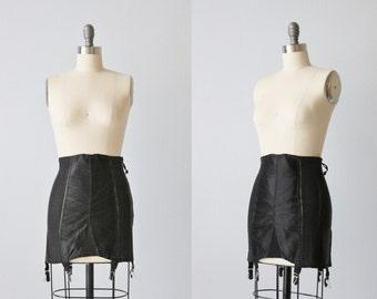 Vintage Treo Black Corset Girdle / 1940s Lingerie / Zip Up / Onyx Night / Style 10