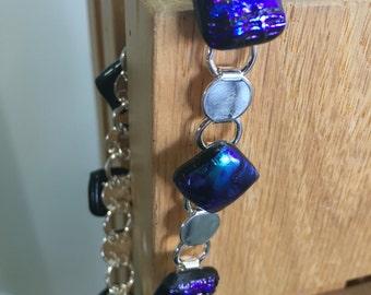 Dichroic Glass Cabochon Link Bracelet in Blue