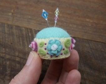 Miniature Felt Bottle Cap Pincushion