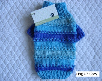 Textured Dog Sweater, Hand Knit Pet Sweater, Full Length,  Size XSMALL, Loopy Loo Turquoise