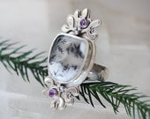 Dendritic Opal Ring/ Amethyst Ring/ Purple and White/Mistletoe Ring/ Winter Landscape/ Snowscape/ Statement Sterling Ring/ Fits Size 7