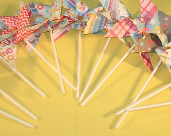 NEW - Whimsical Fun Girls Pinwheel Collection  (Qty 11)  Pinwheels, Decorative Pinwheels, Pinwheel Center Piece