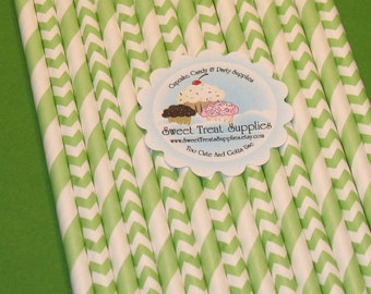 NEW - Vintage Green Striped & Chevron Straw Collection  (Qty 24)  DIY Flag Toppers - Green Straws, Green Striped Straws, Green Chevron Straw