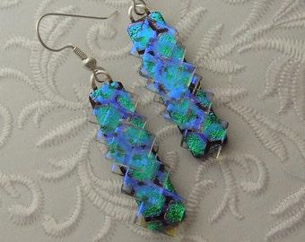 Bohemian Earrings - Boho - Dichroic Fused Glass Earrings - Crystal Earrings - Chandelier Earrings - Prism - Boho - Fused Glass 2941