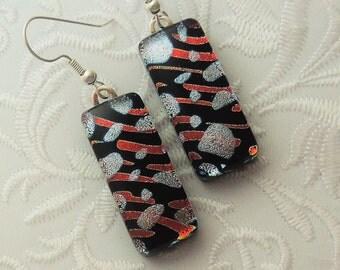 Orange And Black Earrings - Bohemian Earrings - Dichroic Fused Glass Earrings - Glass Earrings - Dichroic Earrings - Dichroic Jewelry X5485