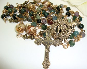 Catholic rosary, St. Michael, mans rosary, fancy jasper and bronze, wire wrapped, Abundant Grace Rosaries **