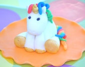 Unicorn CAKE TOPPER Rainbow Unicorn - DIY Cake - Custom Edible Fondant, Baby Shower, Birthday Cake Topper