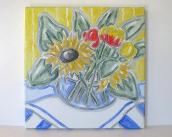 "Original Watercolor Sunflowers and Tulips Painting on canvas, 12"" x 12"",  French country decor, shabby cottage, Impressionist, gift idea"