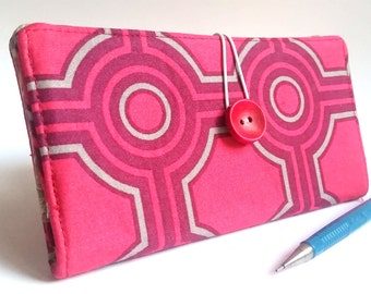Modern CHECKBOOK COVER  Magenta Red Gray Fabric Handmade Wallet - Gatework