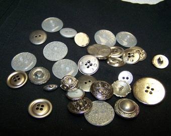 CLOSING SALE Destash - Clear and Silver Button Mix