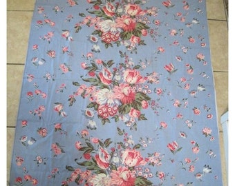 On Sale - Vintage Barkcloth Fabric Roses Tulips Shabby