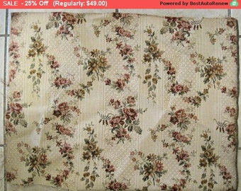 Surprise SALE - Antique French Fabric Roses Brocade Pillow