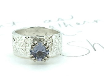 alternative engagement ring . purple spinel engagement ring . engraved tudor rose engagement ring . ready to ship size 7