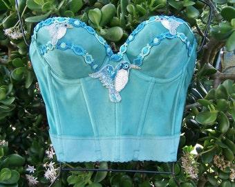 Corset Top, Hummingbird Corset Top, Strapless Top, Teal Corset Top, Spring Break Top, size 34 C