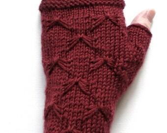 Handknit Fingerless Gloves for Women, Teen Girls, Texting Gloves, maroon gloves, butterfly stitch, merino wool gloves, decorative stitch
