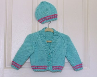 Hand Knitted - Robin's Egg Blue Baby/Child Sweater/Cardigan with Matching Dolphin Buttons