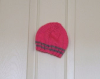Hand Knitted - Baby Hat in Pink with Grey Trim