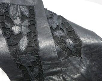Italian Window Pane Black Leather Gloves Size 7