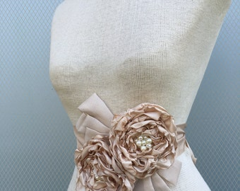 Sash, Bridal sash, Unique Design Flowers, champagne sash, wedding accessories, bridal accessories, bridal wedding belt, handmade flowers