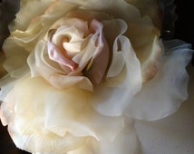 SALE Grand Millinery Rose in Pale Amber & Pink Silk Velvet  for Couture, Bridal. Sashes MF4873