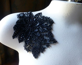 Beaded Flower Applique in Black for Lyrical Dance, Garments, Costumes BLA