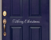 ON SALE Merry Christmas decal - Front Door Decal - Christmas door decal - Wall Art - Vinyl Decal - Holiday Decal