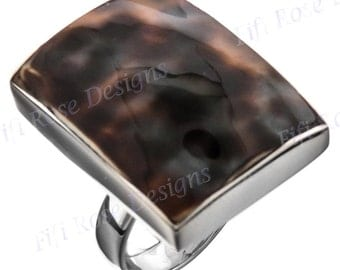 Square Tiger Cowry 925 Sterling Silver Adjustable Sz 7 Ring