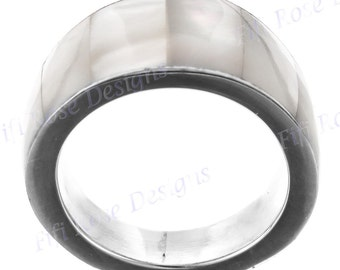 White Mother Of Pearl Shell 925 Silver Band Us 8 Ring