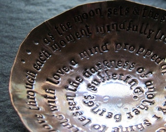 morning mantra - warm copper offering bowl with small mat