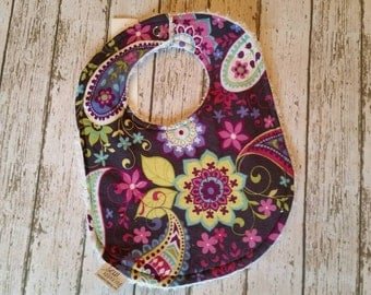 Purple and Grey Paisley Chenille Drooler Bib | Triple Thick Michael Miller Paisley Spree Grey