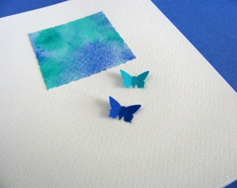Mini Watercolour Painting on Creamy Ivory Card With or Without 2 Mini Butterflies. Royal Blue, Teal, Turquoise. A2 Size. Ready to Ship