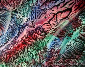 4X6 Red, Blue, Green II Encaustic (Wax) Original Abstract Painting. SFA (Small Format Art). Postcard Size Art, Desk Art