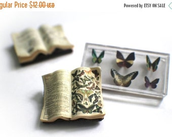 ON SALE Miniature Open Book --- Butterflies