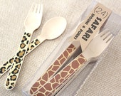 Safari Animal Print Wooden Utensils - Forks and Spoons - Set of 24 - jungle safari, party animals, safari adventure