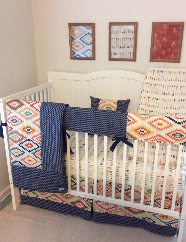 Baby Boy Cribs: Tribal Baby Boy Crib Bedding Set Navy Gold By