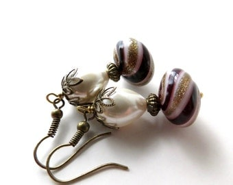 Pearl Burgundy Gold Glass Dangle Earrings, Handblown Artisan Beads, Brass Metal Formal Vintage Inspired Old Hollywood Glamour Traditional