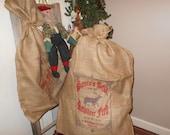 Burlap Santa Sacks, Santa bags, GIANT Christmas bag, Toy bags, Holiday decor, Burlap feed bags, feed sacks, novelty Christmas bags, Santa