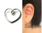 Nickel Free Solid Silver Heart Earring for Daith Piercing Migraine Piercing, One (1) Single, Choose  20g 18gauge or 16gauge