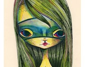 "SUMMER SALES EVENT 5x7 Art Print ""Green Girl"" Little Alligator Girl in Green Mask - Creepy Cute Lowbrow art - Small Premium Giclee Fine Art"