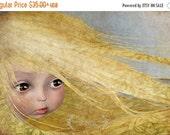SUMMER SALES EVENT Large Sized 'Summer' Premium Fine Art Print -  11x17 / 13x19 - Fantasy Art - Yellow haired girl - Little Blondie - Brown