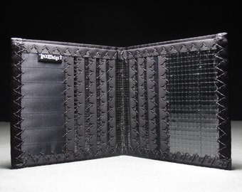Heavy Duty Oversized Mens Bifold - The Hipster in Black Carbon Fiber Sailcloth