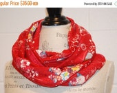 SALE Red Floral Cotton Jersey Infinity Scarf - European Import Fabric -Modern Fashion Accessory - Ladies Teens Tweens