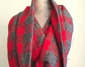 SALE Rustic Red and Grey check plaid cotton circle scarf Cowl Scarf  Fall Winter Fashion Accesory - Ladies Teens - Custom Made