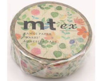 mt ex washi masking tape - single - water-colour flowers