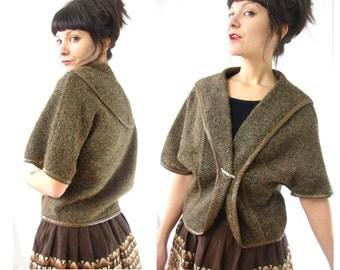 50s tweed topper / light jacket / wrap coat / swing / small / medium
