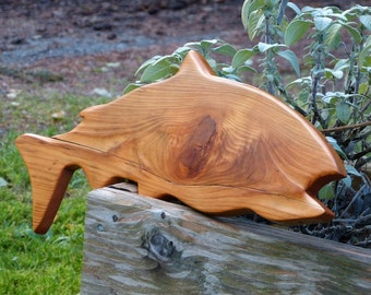 Carved Wooden Salmon, Natural Knot, Wall Hung Salmon, Rustic Salmon, Salmon Art, Cedar Salmon